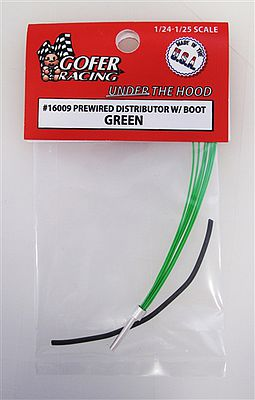 Gofer Racing Models Decals Wired Distributor with Boot (Green) -- Plastic Model Vehicle Accessory -- 1/24-1/25 Scale -- #16009
