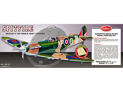 Guillows 27-5/8'' Wingspan Supermarine Spitfire Laser Cut Kit