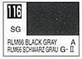 (bulk of 6) Solvent-Based Acrylic Semi-Gloss Black Gray RLM66 10ml Bottle (6/Bx)