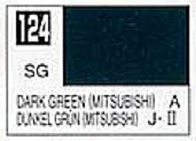 Gunze-Sangyo Solvent-Based Acrylic Semi-Gloss Dark Green Mitsubishi 10ml Bottle (6/Bx)