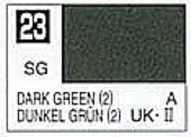 Gunze-Sangyo (bulk of 6) Solvent-Based Acrylic Semi-Gloss Dark Green 10ml Bottle (6/Bx)