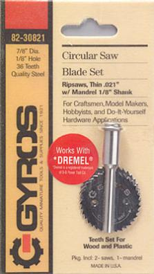 Gyros Products Co Coarse Blade 1/8'' Hole w/Mandrel (2 Blades/Cd)
