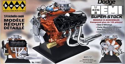 Hawk Models Dodge 426 Super Stock Hemi Engine (Painted Parts) -- Diecast Model Engine Kit -- 1/4 Scale -- #11057
