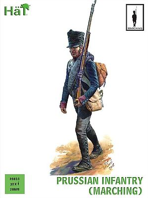 Hat Industries Figures Prussian Infantry Marching -- Plastic Model Military Figure Set -- 28mm -- #28013