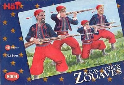 Hat US Civil War Zouaves 1/72 Scale Plastic Model Military Figure #8004