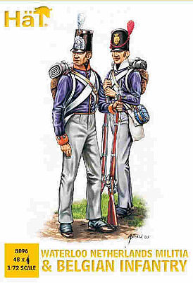 Hat Industries Figures Belgian Infantry -- Plastic Model Military Figure Set -- 1/72 Scale -- #8096