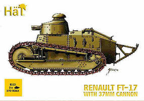 Hat WWI FT-17 Tank with Cannon Plastic Model Military Vehicle Kit 1/72 Scale #8113