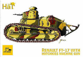 Hat WWI FT-14 with Hotchkiss Machine Gun Plastic Model Military Vehicle Kit 1/72 Scale #8114