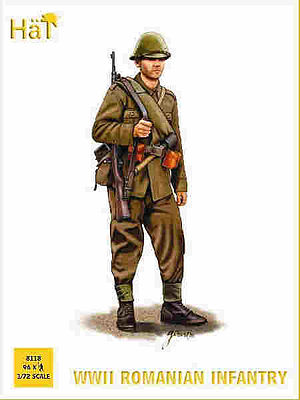 Hat WWII Romanian Infantry Plastic Model Military Figure Set 1/72 Scale #8118