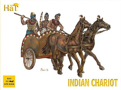 Hat Industries Figures Indian Chariot -- Plastic Model Military Vehicle Kit -- 1/72 Scale -- #8143