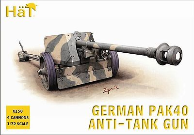 Hat WWII Germans Pak40 Plastic Model Weapon Kit 1/72 Scale #8150