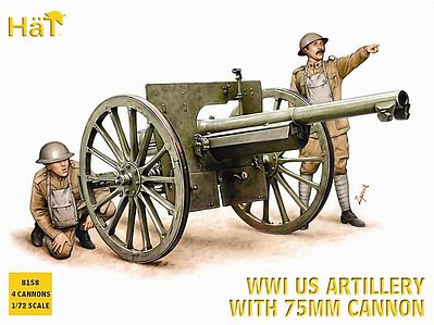 Hat Industries Figures US Artillery WWI -- Plastic Model Weapon Kit -- 1/72 Scale -- #8158