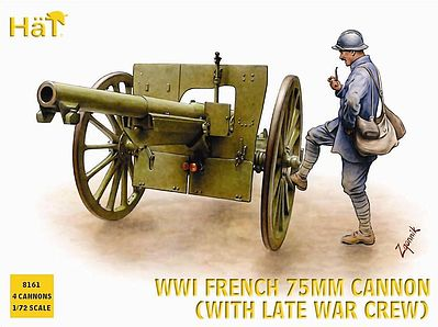 Hat Industries Figures Late French Artillery WWI -- Plastic Model Weapon Kit -- 1/72 Scale -- #8161