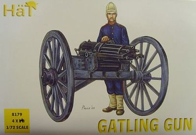 Hat Industries Figures Gatling Gun -- Plastic Model Weapon Kit -- 1/72 Scale -- #8179