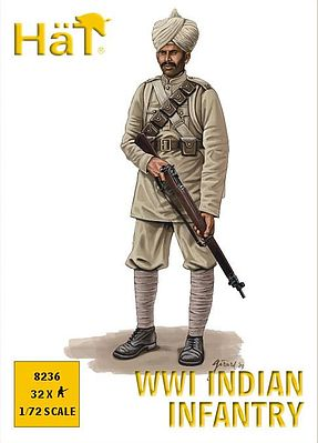 Hat Industries Figures WWI Indian Infantry -- Plastic Model Military Figure Set -- 1/72 Scale -- #8236