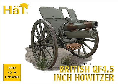 Hat WWI British Q45 Howitzer Plastic Model Weapon Kit 1/72 Scale #8243