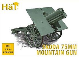 Hat WW-I Skoda 75mm Mountain Gun Plastic Model Weapon Kit 1/72 Scale #8244