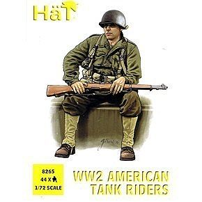 Hat Industries Figures US Tank Riders -- Plastic Model Military Figure Set -- 1/72 Scale -- #8265