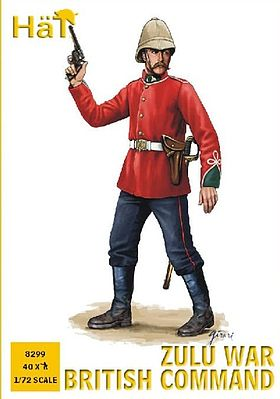 Hat Industries Figures Zulu War British Command -- Plastic Model Military Figure -- 1/72 Scale -- #8299