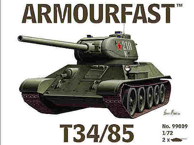 Hat Russian T34 with 85mm Gun Plastic Model Military Vehicle Kit 1/72 Scale #99009