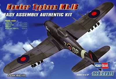 HobbyBoss Easy Build Typhoon Plastic Model Airplane Kit 1/72 Scale #80232