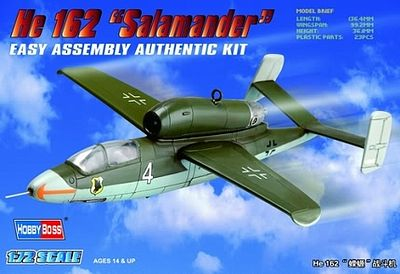 HobbyBoss Easy Build Heinkel He 162 Salamander Plastic Model Airplane Kit 1/72 Scale #80239