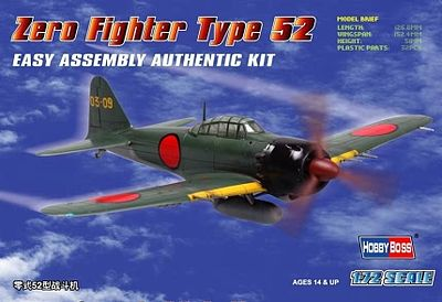 Hobby Boss Easy Build Zero 52 -- Plastic Model Airplane Kit -- 1/72 Scale -- #80241