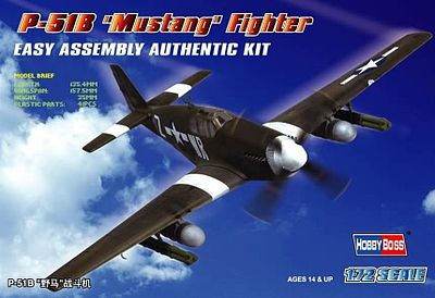 Hobby Boss Easy Build P-51B Mustang -- Plastic Model Airplane Kit -- 1/72 Scale -- #80242