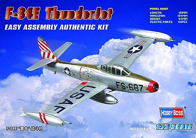 Hobby Boss F-84E Thunderjet -- Plastic Model Airplane Kit -- 1/72 Scale -- #80246
