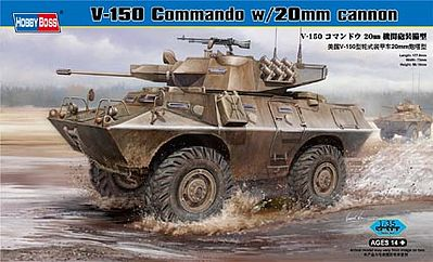 HobbyBoss V-150 Commando with 20mm Plastic Model Military Vehicle Kit 1/35 Scale #82420