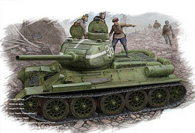 HobbyBoss T-34/85 Russian 1944 Flat Turret Plastic Model Military Vehicle Kit 1/48 Scale #84807