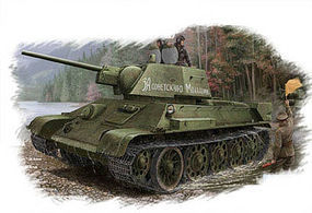 HobbyBoss T-34/76 Russian Tank Model 1943 Plastic Model Military Vehicle Kit 1/48 Scale #84808