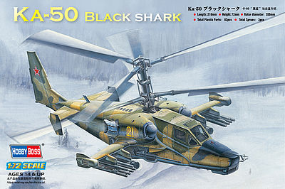 HobbyBoss Russian KA-50 Blackshark Plastic Model Helicopter Kit 1/72 Scale #87217