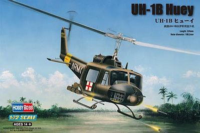 Hobby Boss UH-1B Huey -- Plastic Model Helicopter Kit -- 1/72 Scale -- #87228