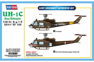 Hobby Boss UH-1C Huey -- Plastic Model Helicopter Kit -- 1/48 Scale -- #hy85803