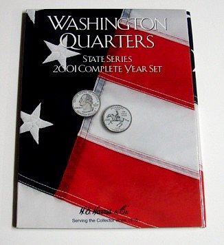 HE-Harris 2001 Complete Year Washington State Quarters Coin Folder (D) Coin Collecting Book #2584