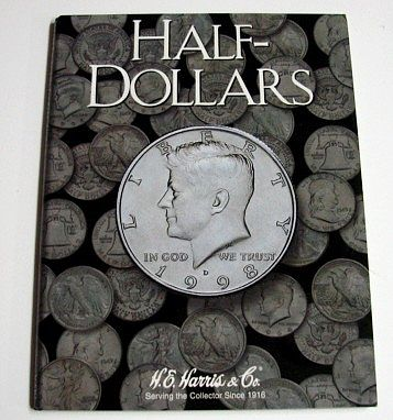 H.E. Harris Half Dollar Plain Coin Folder -- Coin Collecting Book and Supply -- #2698