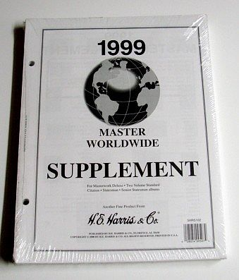H.E. Harris 1999 Master World Wide Stamp Album Supplement (D) -- Stamp Collecting Supply -- #hrs102