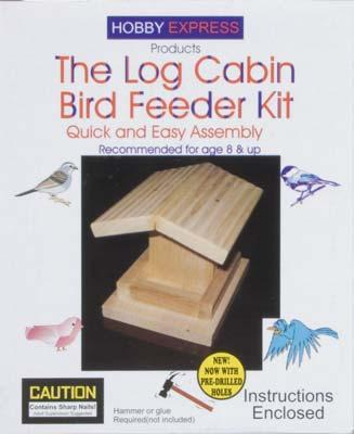 Hobby-Express Log Cabin Bird Feeder Kit Wooden Bird House Kit #60009