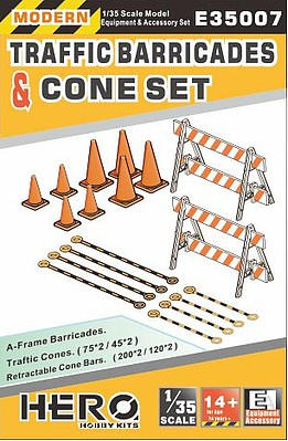 Hero-Hobby 1/35 Modern Traffic Barricades (2), Cones (8) & Cone Bars (8)