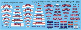 Hawk-Graphics 1/700 RN White Ensigns & Jacks (D)