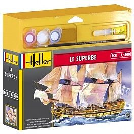 Heller Le Superbe 3-Masted Sailing Ship -- Plastic Model Military Ship Kit -- 1/500 Scale -- #49067