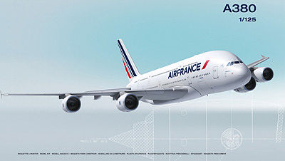 Heller A380 Air France Commercial Airliner -- Plastic Model Airplane Kit -- 1/125 Scale -- #80436