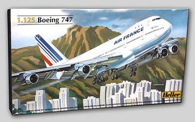 Heller B747 Air France Commercial Airliner -- Plastic Model Airplane Kit -- 1/125 Scale -- #80459