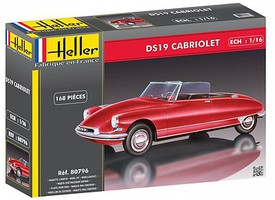 Heller DS19 Convertible Car Plastic Model Car Kit 1/16 Scale #80796
