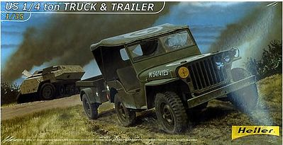 Heller US 1/4-Ton Truck with Trailer Plastic Model Military Vehicle Kit 1/35 Scale #81105