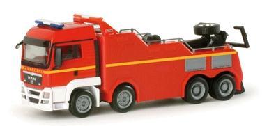 Herpa Models Emergency Fire Dept. Vehicles MAN TGS -- Heavy-Duty Wrecker (red, white, yellow stripe) - HO-Scale