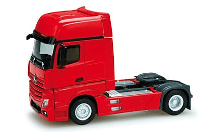 Herpa Models Mercedes Actros 2011 Giga Tractor Only - Red -- HO Scale Model Railroad Vehicle -- #159173