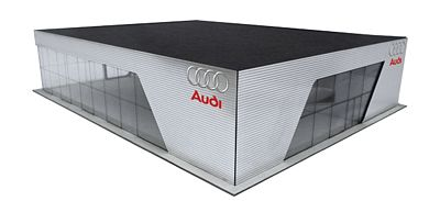 Herpa Models Audi Dealership 2014 Corporate Design - Kit -- HO Scale Model Railroad Road Accessory -- #303613