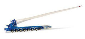 Herpa Self-Propelled Turbine Blade Transporter - Assembled Blue, White